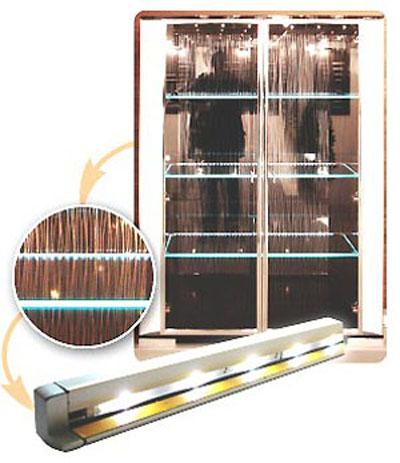 Подсветка стеклянной полки светодиодной лентой 185